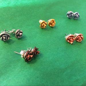 🎁 Rose Stud Earrings Multiple Colors 5 pair